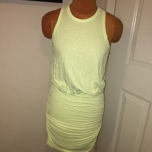 Lemon Yellow Anthropologie Ruched Racerback Dress